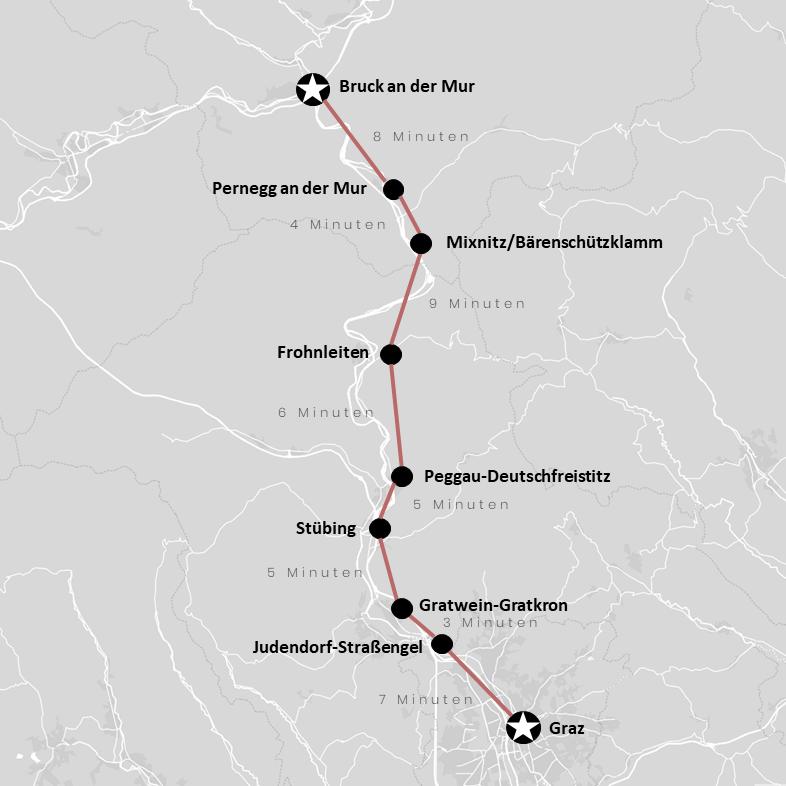 Ausflugsziele entlang der Strecke der Linie S1 auf der Karte