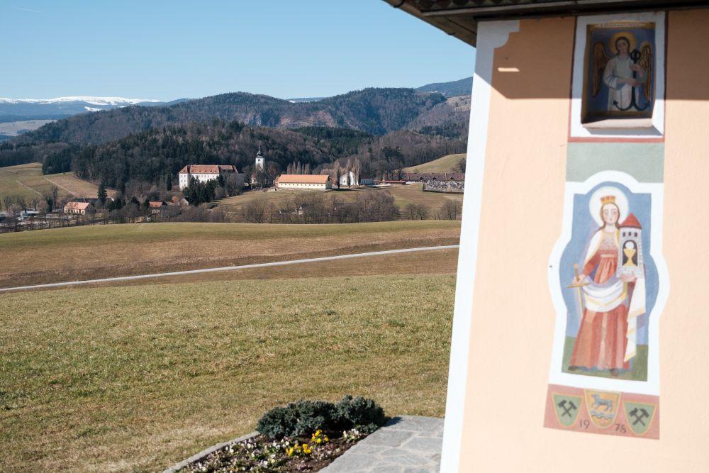 Auf dem Rückweg hatten wir diesen Ausblick auf Schloss Piber mit Gestüt