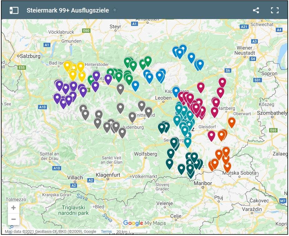 Empfehlenswerte Ausflugsziele in der Steiermark (Karte von Google Maps)