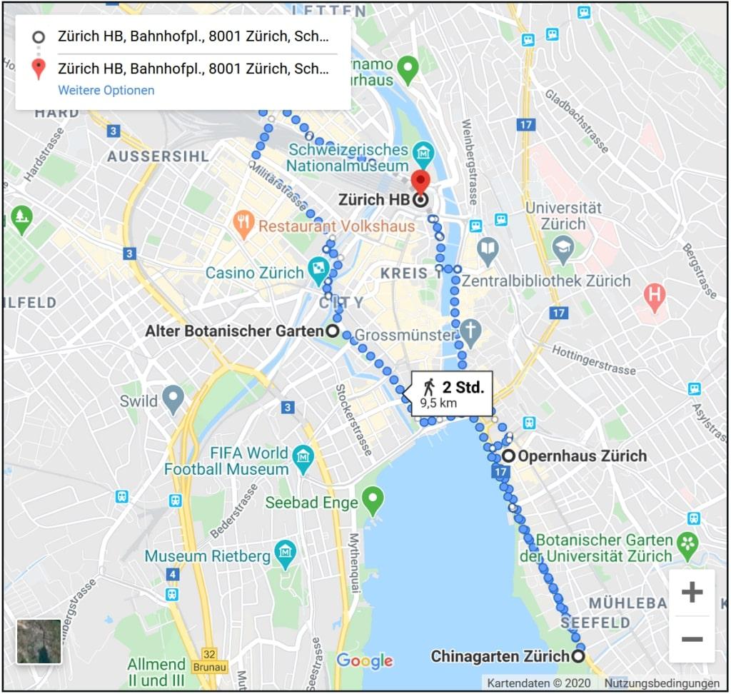 Stadt-Rundgang durch Zürich mit vielen Sehenswürdigkeiten auf der Karte