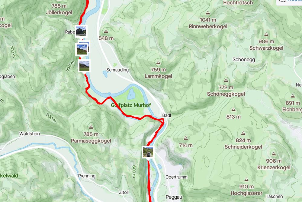 Streckenabschnitt Deutschfeistritz <> Rabenstein (aufgezeichnet mit Strava)