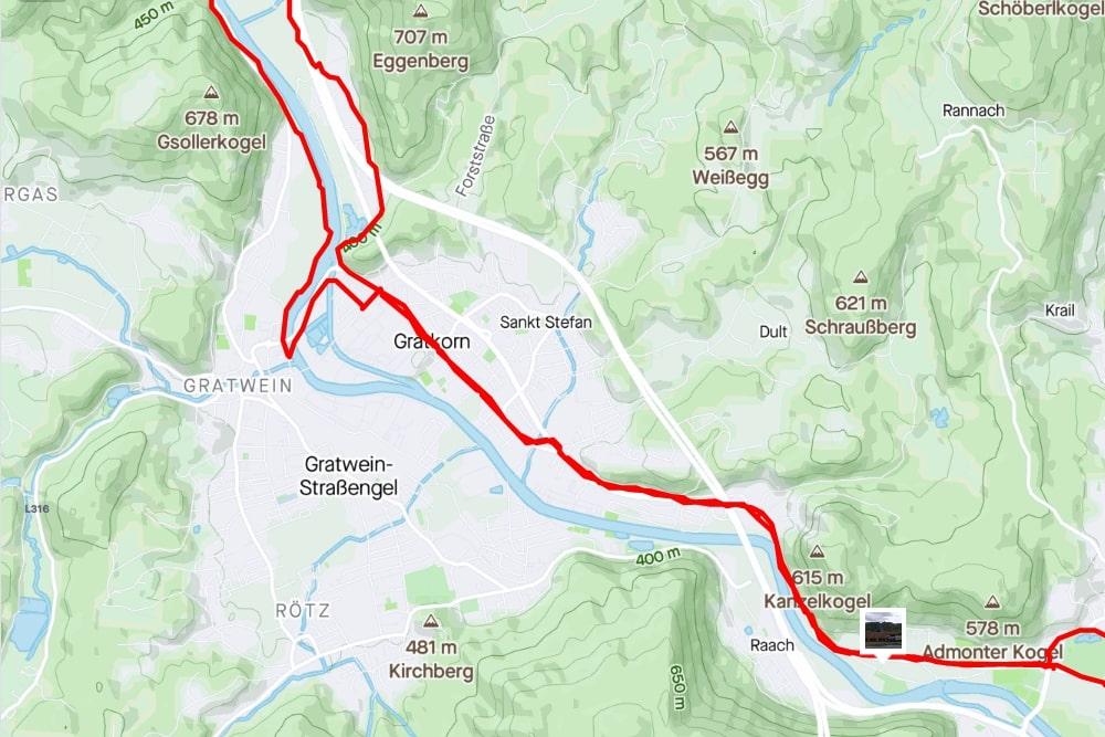 Streckenabschnitt Gösting <> Gratkorn (aufgezeichnet mit Strava)