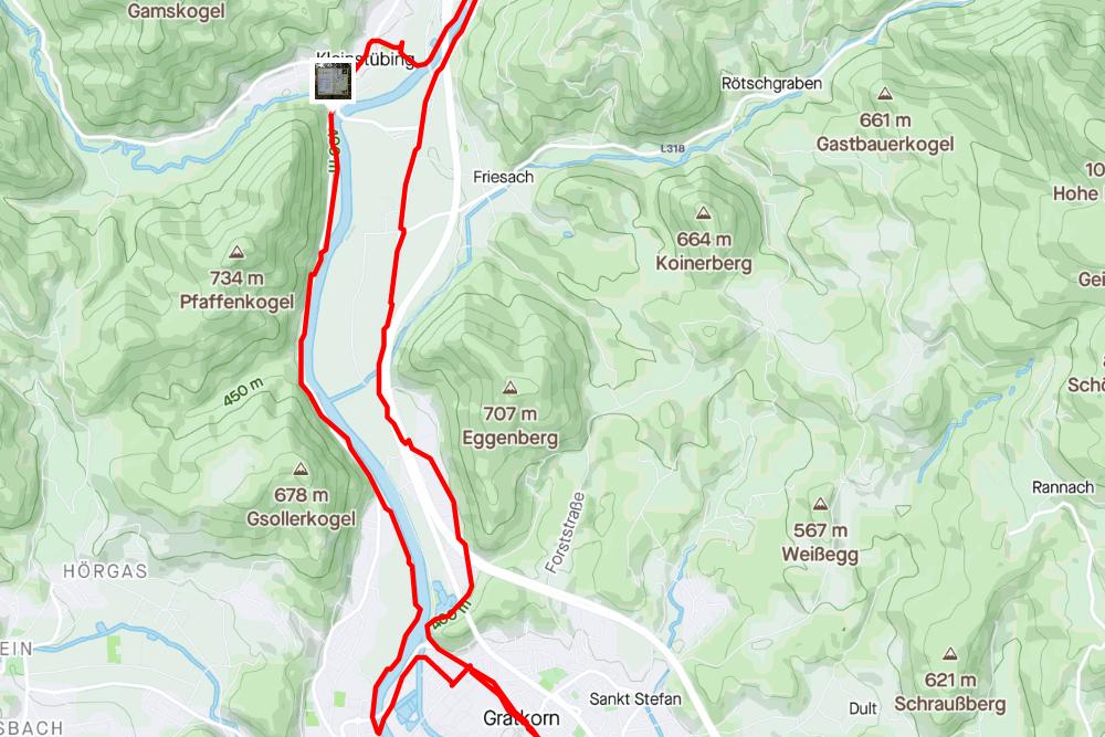 Streckenabschnitt Gratkorn <> Stübing (aufgezeichnet mit Strava)