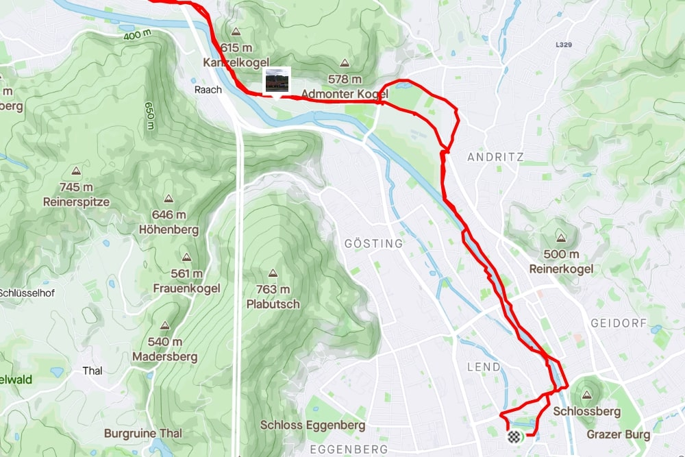 Streckenabschnitt Graz <> Gösting (aufgezeichnet mit Strava)