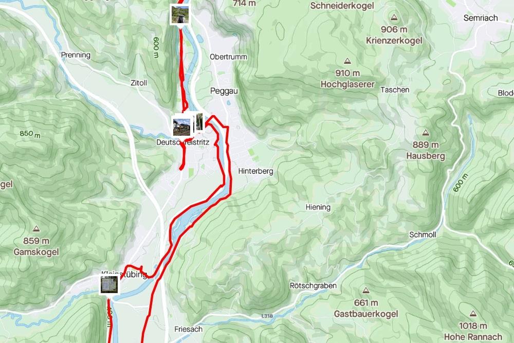 Streckenabschnitt Stübing <> Deutschfeistritz (aufgezeichnet mit Strava)
