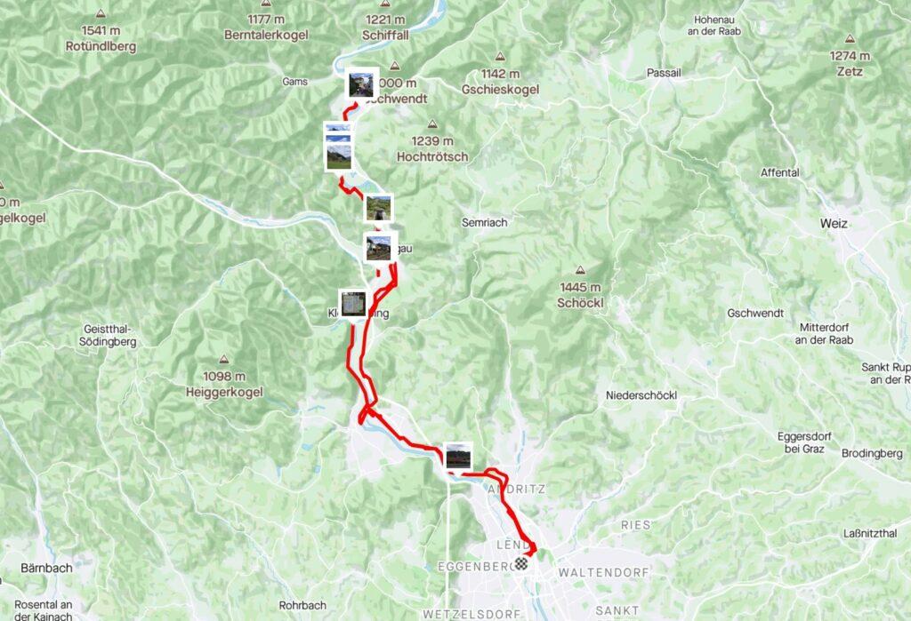 Die Route meiner Etappe Graz Frohnleiten auf der Karte (Strava)