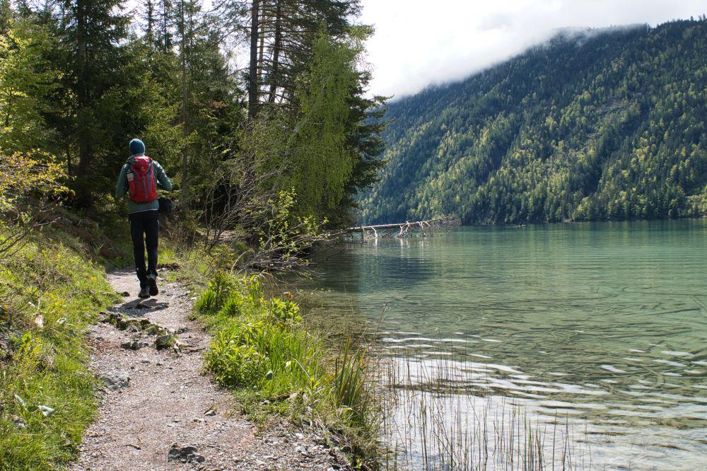 Der Slow Trail Weissensee führt direkt am Seeufer entlang