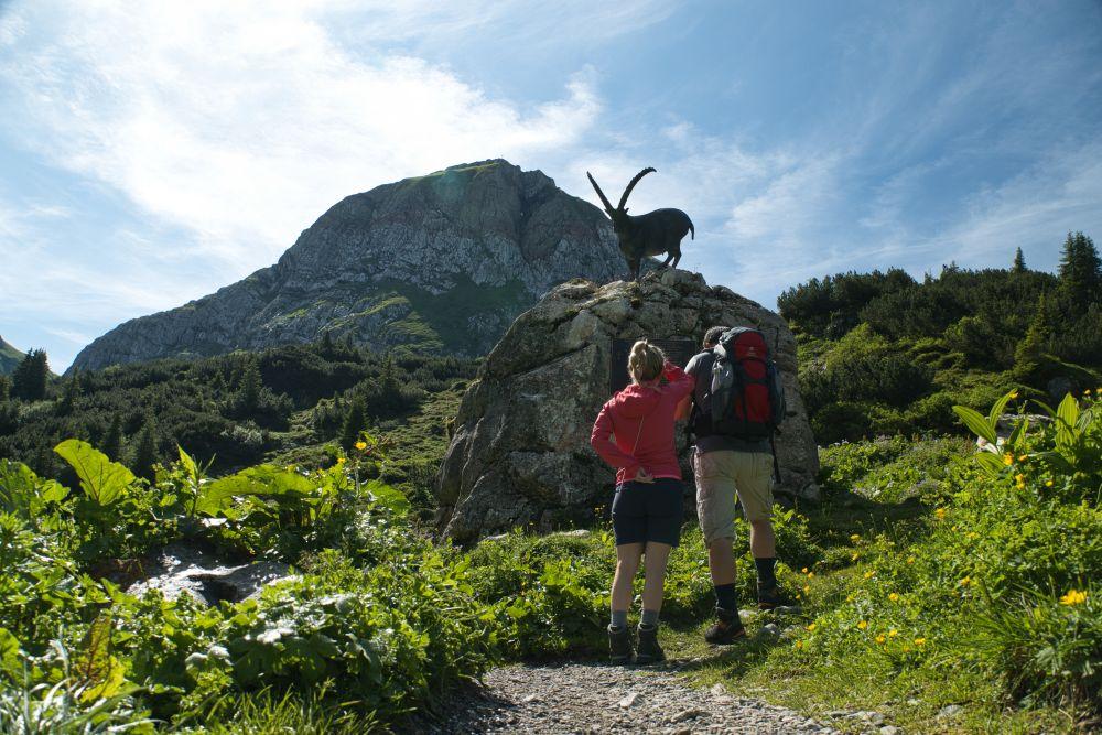 Andere Wanderer, die sich das Steinbock-Denkmal am Formarinsee anschauen