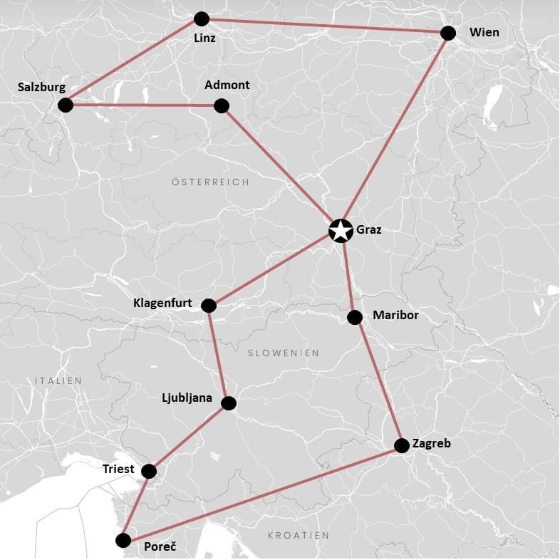 Roadtrip durch Österreich mit Kroatien, Slowenien und Italien auf der Karte