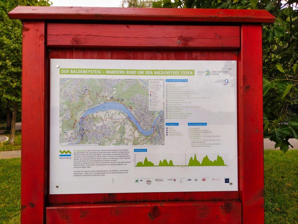 Die gesamte Route des Baldeneysteigs auf der Karte